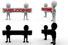 3d character welcome banner concept collections with alpha and shadow channel Stock Photography