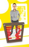 3d character , woman and a abacus - yellow background. 3d rendering royalty free illustration