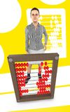 3d character , woman and a abacus - yellow background. 3d rendering Stock Illustration
