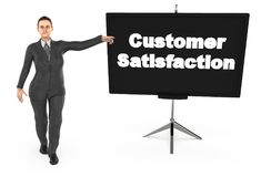 3d character , woman pointing his hand towards a presentation board with customer statisfaction text in it stock illustration