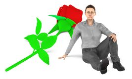 3d character , woman , sad , worried sitting near to a flower on the ground. 3d rendering stock illustration