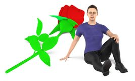 3d character , woman , sad , worried sitting near to a flower on the ground. 3d rendering vector illustration