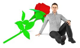 3d character , woman , sad , worried sitting near to a flower on the ground. 3d rendering royalty free illustration