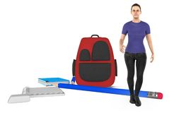 3d character ,woman and a school bag and a pencil , books , notepad and eraser on the ground stock illustration