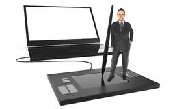 3d character , woman standing over a large graphic tablet and le stock illustration