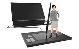 3d character , woman standing over a large graphic tablet and leaning towards a stylus , near to a large latop stock illustration