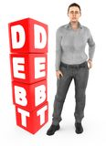 3d character , woman worry , crying standing near a debt text in cube blocks. 3d rendering royalty free illustration