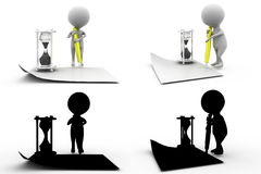 3d character write time concept  collections with alpha and shadow channel Stock Image