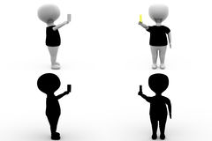 3d character with yellow card concept collections with alpha and shadow channel Royalty Free Stock Photo