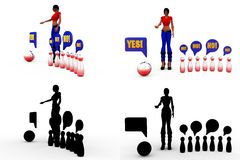 3d character yes no concept Collections With Alpha And Shadow Channel Stock Photo