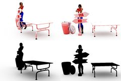 3d character yes no confusion concept Collections With Alpha And Shadow Channel Stock Photo