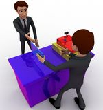 3d charactergiving envelop and instruction concept Royalty Free Stock Photography