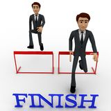 3d characterrunning over hurdles to reach finish line concept Royalty Free Stock Image