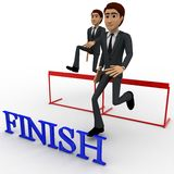 3d characterrunning over hurdles to reach finish line concept Stock Images
