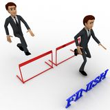 3d characterrunning over hurdles to reach finish line concept Stock Photo