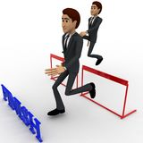 3d characterrunning over hurdles to reach finish line concept Royalty Free Stock Photography