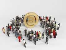 3d characters around a golden at icon Royalty Free Stock Image