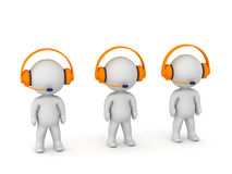 3D Characters at Call Center with Headphones and Microphones Royalty Free Stock Photography