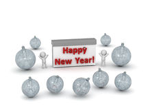 3D Characters Celebrating the New Year Royalty Free Stock Images