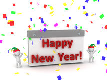 3D Characters Cheering and Calendar with Happy New Year Text Royalty Free Stock Photo