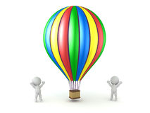3D Characters Cheering and Colorful Hot Air Balloon Stock Photography