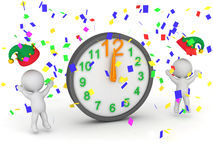 3D Characters Cheering for Midnight 12 o Clock. 3D characters celebrating midnight with confetti and clock.  on white background Stock Photo