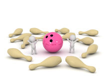 3D Characters Cheering and Strike Bowling Pins Stock Image