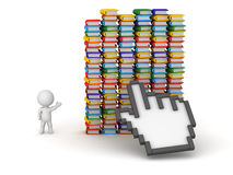 3D Characters Click on Many Colorful Books Royalty Free Stock Photo