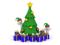 3D Characters with Elf Hats and Christmas Tree with Gifts Royalty Free Stock Images