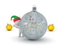 3D Characters with Elf Hats and Decorative Globes Stock Photography