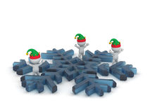 3D Characters with Elf Hats and Large Snowflake Stock Photo