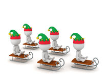 3D Characters with Elf Hats Riding Sleds Royalty Free Stock Photography