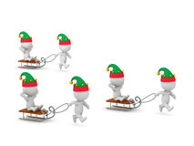 3D Characters in Elf Hats Riding Sleds Stock Photography