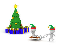 3D Characters Going Sleding during Winter Holidays Stock Images