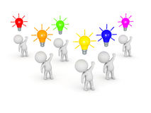 3D Characters with Ideas. Several 3D characters with light bulb ideas of various colors above their heads.  on white background Stock Image