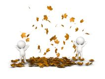 3D Characters Jumping and Many Falling Autumn Leaves Stock Photos