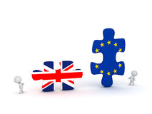 3D Characters and Large Puzzle Pieces with UK and EU Flags Stock Images