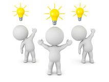 3D Characters with Light Bulb Ideas Stock Photo