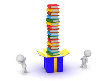 3D Characters Looking Up at a Gift Box with Colorful Books Stock Images