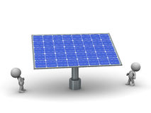3D Characters Looking Up at Large Solar Panel Royalty Free Stock Photos