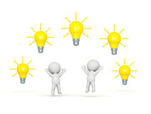 3D Characters with Many Light Bulb Ideas. Two 3D characters jumping up, and several light bulb ideas above them. Isolated on white background Royalty Free Stock Images
