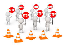 3D Characters with Many Stop Signs Royalty Free Stock Photography
