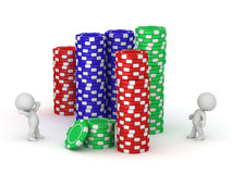 3D Characters and Poker Chips Royalty Free Stock Photos