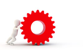 3D Characters pushing gear Royalty Free Stock Photo