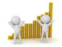 3D Characters and Stacks of Gold Coins Royalty Free Stock Photo