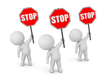3D Characters with Stop Signs Royalty Free Stock Photos