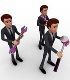 3d characterwith mechanical tools concept Stock Photos