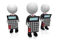 3D charactes/kreskówki biznesmeni trzyma kalkulatorów royalty ilustracja