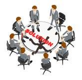 3d Charakter, die Mannteamleute, die um eine Tabelle mit Lösung sitzen, simsen in ihm vektor abbildung