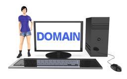 3d Charakter, Frau, die nahe zu einem Computer, mit Gebiet t steht Lizenzfreies Stockfoto
